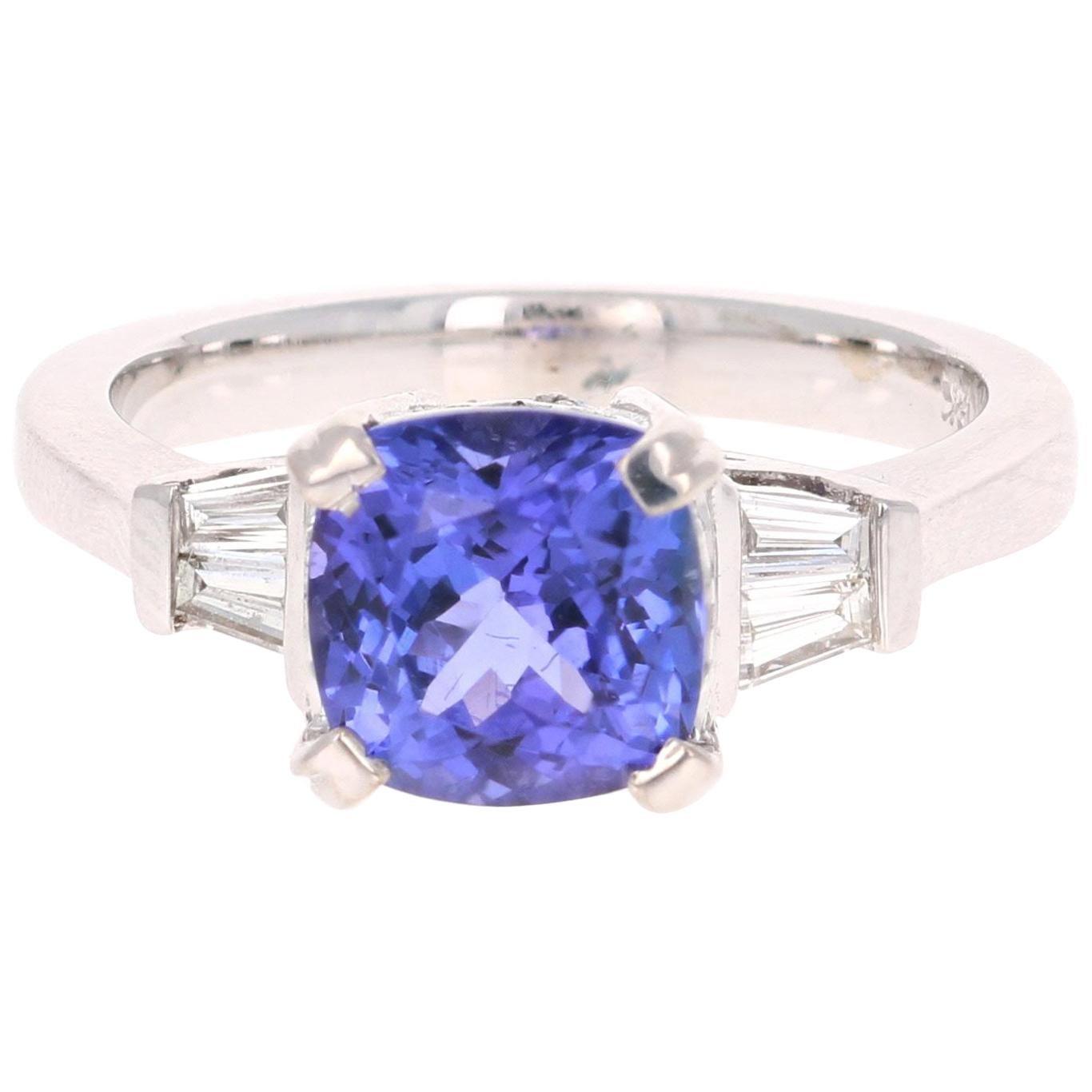 2.93 Carat Cushion Cut Tanzanite Diamond 18 Karat White Gold Ring