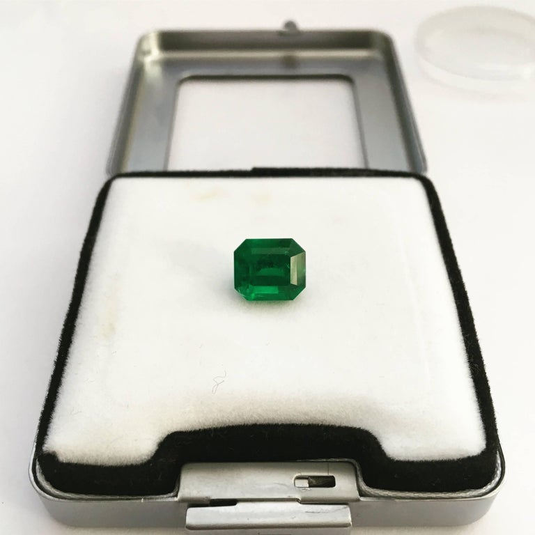 2.93 carat, emerald cut, certified blueish-green Colombian emerald of natural origin and fine quality.  Indications of insignificant clarity enhancement with cedar oil.  9.22mm x 7.99mm x 6.29mm  Certified retail price per carat: >$17,500 X 0.81 =