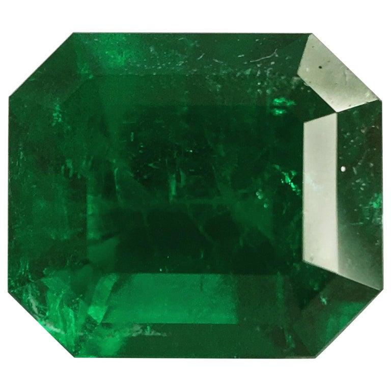 2.93 Carat Emerald Cut, Certified Natural Muzo Colombian Emerald For Sale