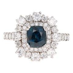 2.93 Carat GIA Certified Sapphire Diamond 18 Karat White Gold Engagement Ring