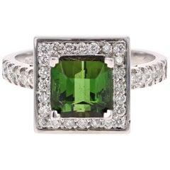 2.93 Carat Green Tourmaline Diamond 14 Karat White Gold Ring