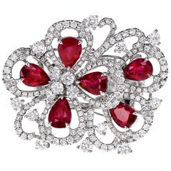 2.93 Carat Hot Red Ruby Diamond Cocktail Ring 18 Karat