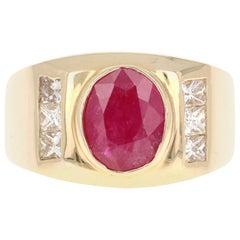 2.93 Carat Men's Ruby Diamond 14 Karat Yellow Gold Ring