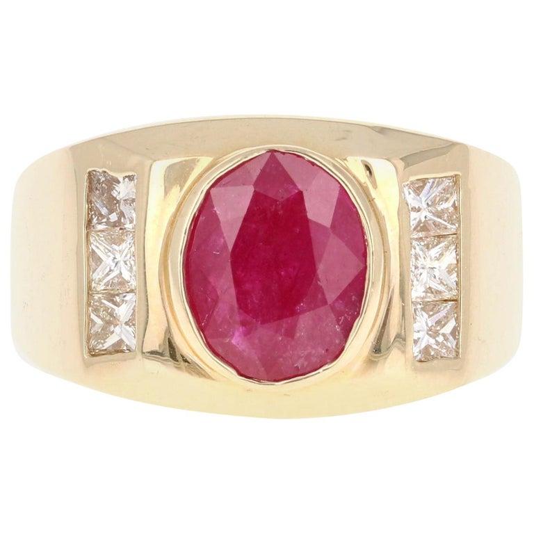 2.93 Carat Men's Ruby Diamond 14 Karat Yellow Gold Ring For Sale