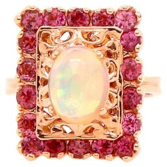 2.93 Carat Opal and Pink Tourmaline Ring
