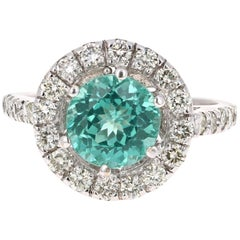 2.93 Carat Round Cut Apatite Diamond White Gold Engagement Ring