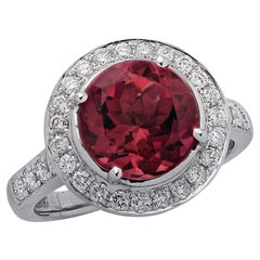 2.93 Carat Rubellite Tourmaline and Diamond Engagement Ring