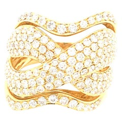 2.93 Carat White Diamonds Yellow Gold Italian Dome Ring Italy with box
