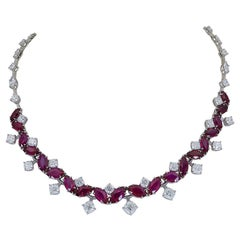 29.30 Carat Marquise Cut Ruby and Diamond Drop Necklace