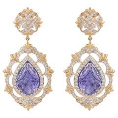 29.31 Carat Carved Tanzanite Diamond 18 Karat Yellow Gold Earring