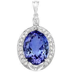 29.32 Carat Tanzanite and White Diamond 18 Karat White Gold Pendant