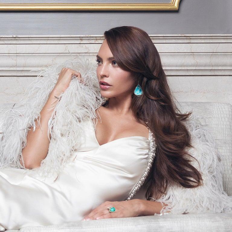 Mixed Cut 29.38 Carat Brazilian Paraiba Tourmaline Diamond Gold Drop Earrings For Sale