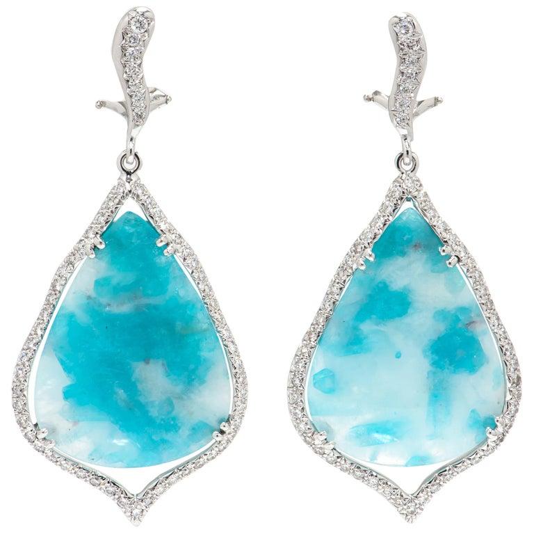 29.38 Carat Brazilian Paraiba Tourmaline Diamond Gold Drop Earrings For Sale