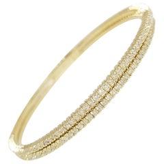 2.94 Carat 2-Row Bangle Yellow Gold 14 Karat