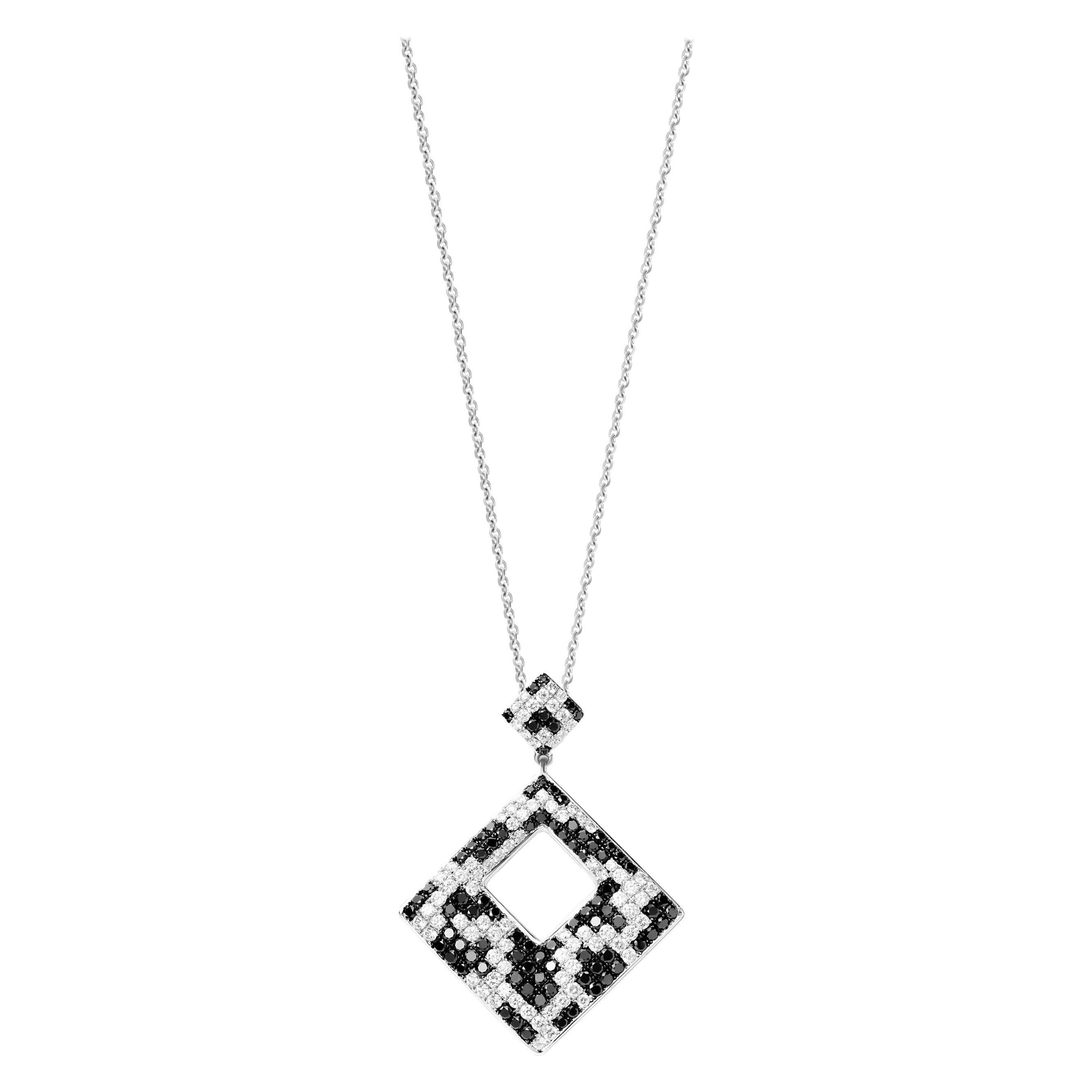 2.94 Carat Black White Diamond 18 Karat White Gold Pendant Necklace