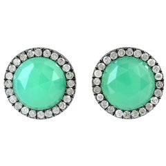 Chrysophrase Diamond Stud Earrings