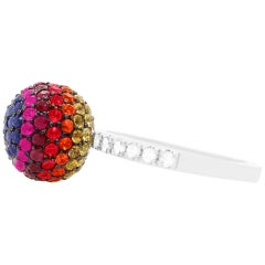 2.94 Carat Rainbow Ball Multi-Color Sapphire and Diamond Ring