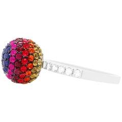 2.94 Carat Rainbow Ball Multi-Color Sapphire and Diamond Ring
