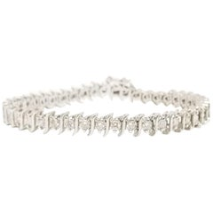 4.00 Carat Round Brilliant Cut Diamond S-Shape Tennis Bracelet 14 Karat Gold