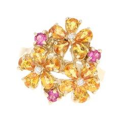 2.94 Carat Sapphire Diamond 14 Karat Yellow Gold Floret Cocktail Ring