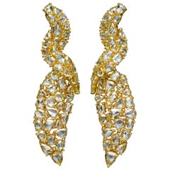 29.40 Carat Rose Cut 18 Karat Yellow Gold Diamond Earrings