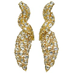 29.40 Carat Rose Cut Yellow Diamond 18 Karat Yellow Gold Earrings