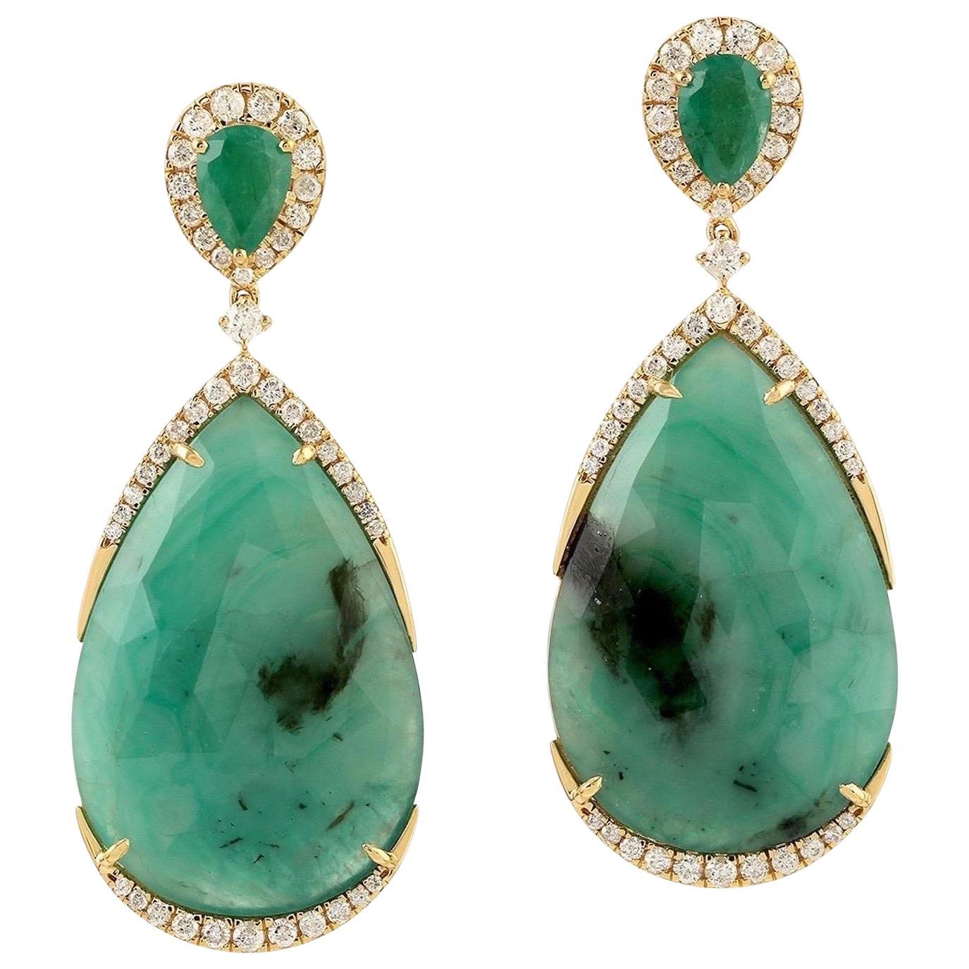 29.43 Carat Emerald Diamond 18 Karat Gold Earrings