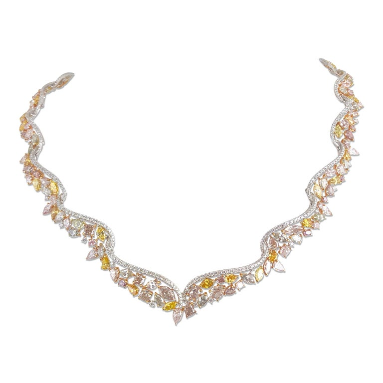 GIA Certified 29.43 Carat Handcrafted Natural Color Diamond Tiara Necklace For Sale
