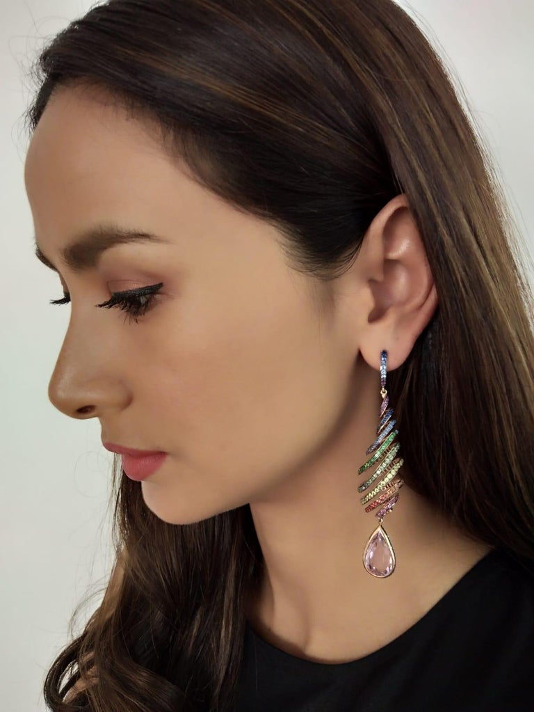 29.46 Carat Kunzite Rainbow Spiral Earrings with Colored Sapphires For Sale 2