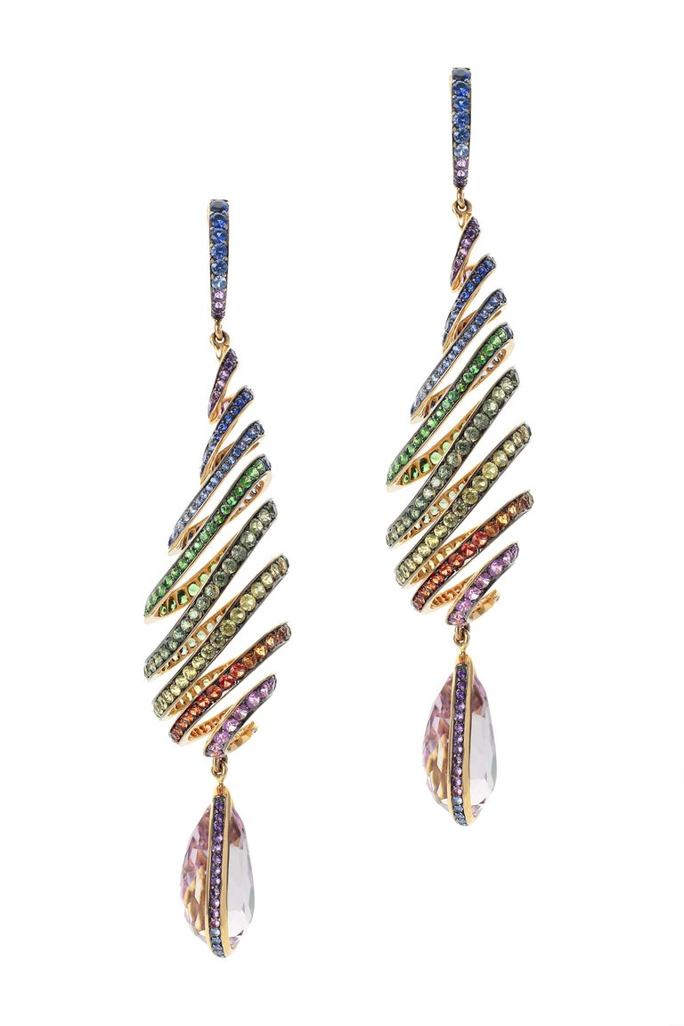 Pear Cut 29.46 Carat Kunzite Rainbow Spiral Earrings with Colored Sapphires For Sale