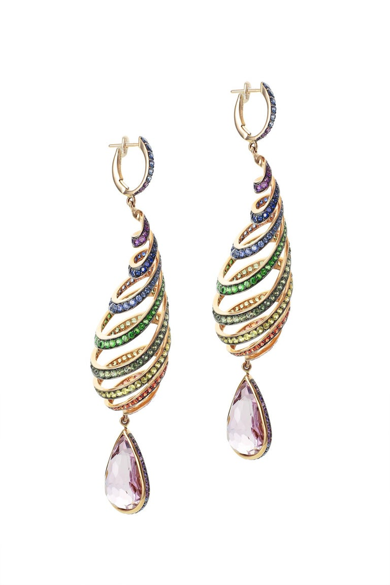 29.46 Carat Kunzite Rainbow Spiral Earrings with Colored Sapphires In New Condition For Sale In Bangkok, TH