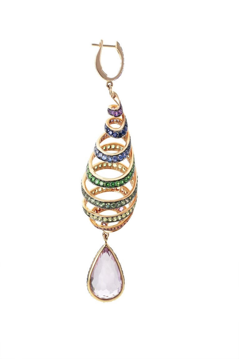 Women's 29.46 Carat Kunzite Rainbow Spiral Earrings with Colored Sapphires For Sale
