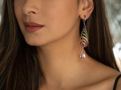 29.46 Carat Kunzite Spiral Earrings with Rainbow Natural Sapphires in Pink Gold