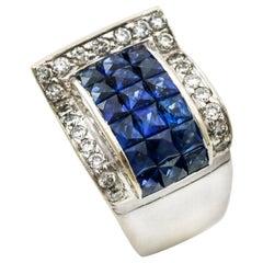 2.95 Carat 18 Karat White Gold Mystery Set Sapphire Diamond Ring