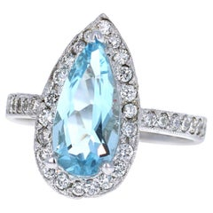 2.95 Carat Aquamarine and Halo Diamond White Gold Cocktail Ring
