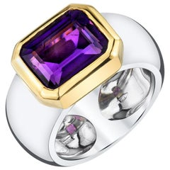 2.95 Carat Bezel Set Amethyst 18 Karat White and Yellow Gold Band Ring