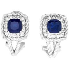 2.95 Carat Cushion Sapphire and .55 Carat Diamond Earrings