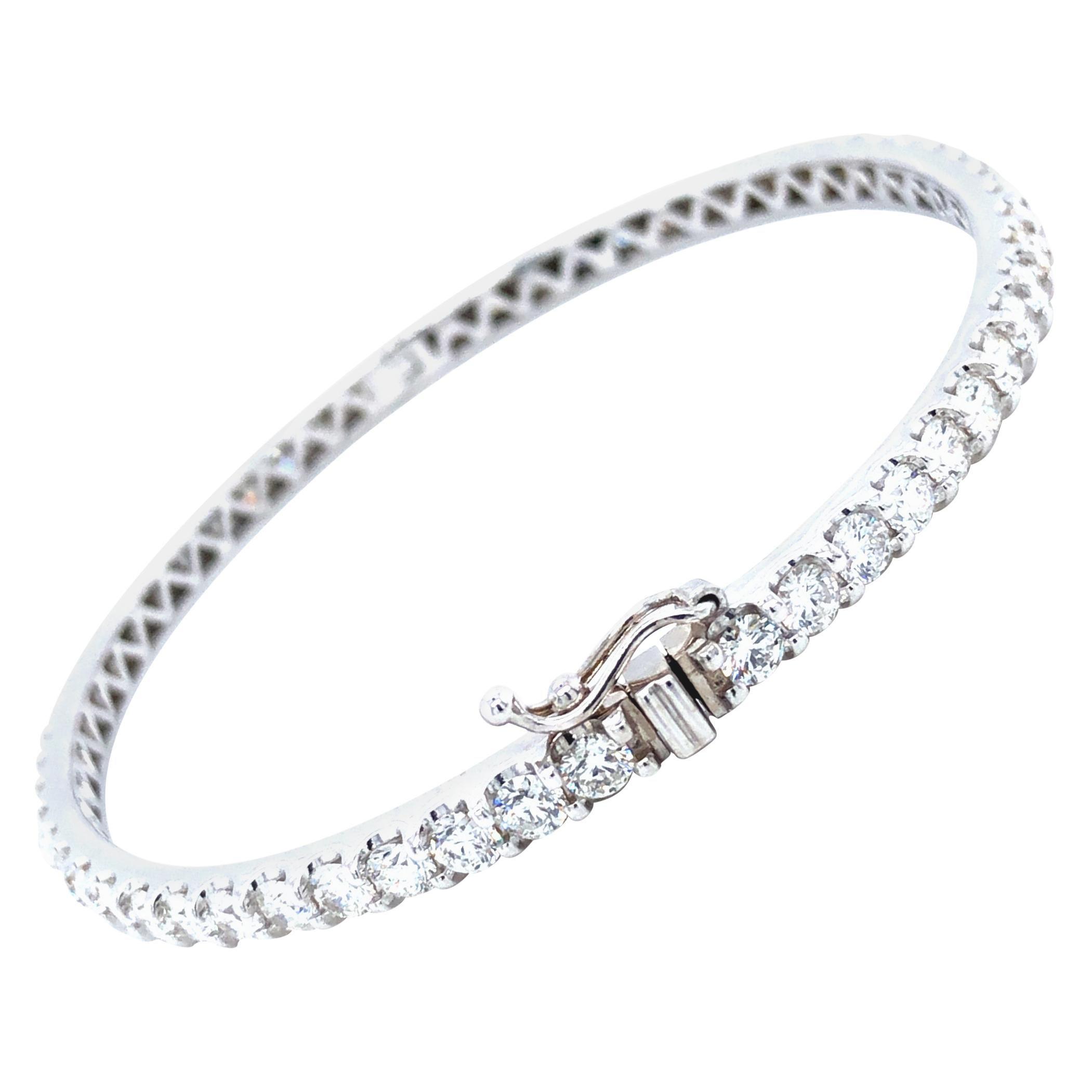 2.95 Carat Diamond Bangle 14 Karat White Gold