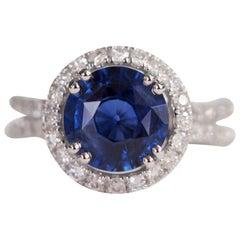 2.95 Carat GIA Blue Sapphire Diamond Halo Ring