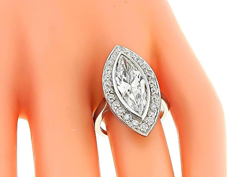 Women's or Men's 2.95 Carat Marquise Cut Diamond Halo Engagement Ring For Sale
