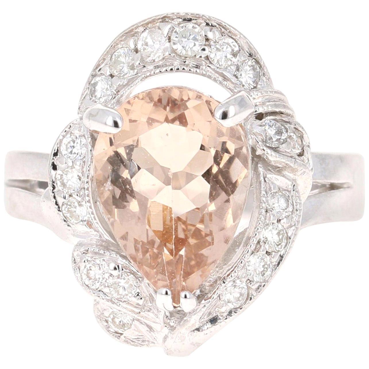 2.95 Carat Morganite Diamond 14 Karat White Gold Cocktail Ring
