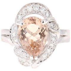 2.95 Carat Morganite Diamond 14 Karat White Gold Cocktail Ring