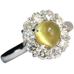 2.95 Carat Natural Cabochon Chrysoberyl Cat's Eye Diamonds Ring 14 Karat