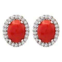 2.95 Carat Natural Coral 18 Karat White Gold Diamond Earrings