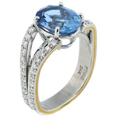 2.95 Carat Oval Aquamarine Ring in Platinum and 24 Karat Gold by Zoltan David