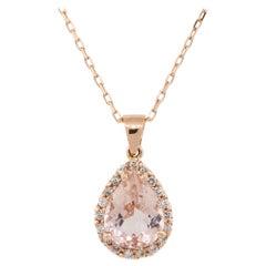 2.95 Carat Pear Shape Morganite Pendant Necklace with Diamonds 14 Karat in Stock