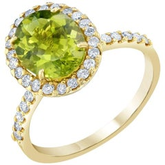 2.95 Carat Peridot Diamond 14 Karat Yellow Gold Ring