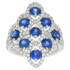 2.95 Carat Round Cut Sapphire and Diamond Ring 14 Karat White Gold Halo-Inspired