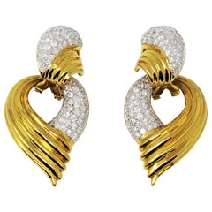 2.95 Carat Total Pave Diamond Door Knocker Non-Pierced Earrings 18K Yellow Gold