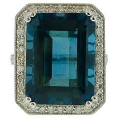 29.5 Emerald Cut London Royal Blue Topaz and 1 Carat Diamond Halo Cocktail Ring